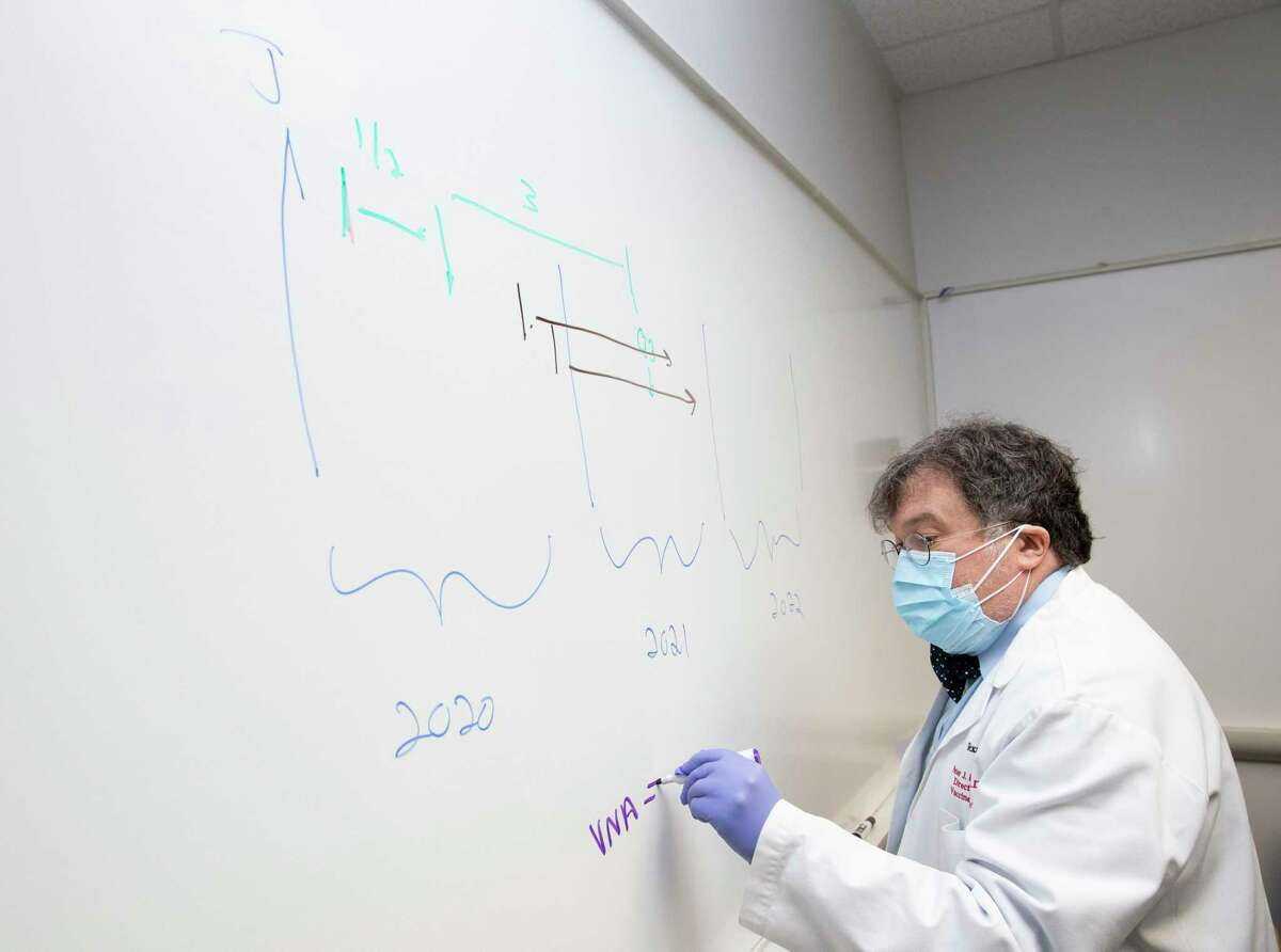 Peter Hotez, co-director of Texas Children's Hospitals Center for Vaccine Development, draws a timeline graphic to explain the COVID-19 vaccine development process Thursday, June 18, 2020, in Houston. Hotez predicted COVID-19 vaccine will be available for general public by quarter three of 2021, if they are safe and work.