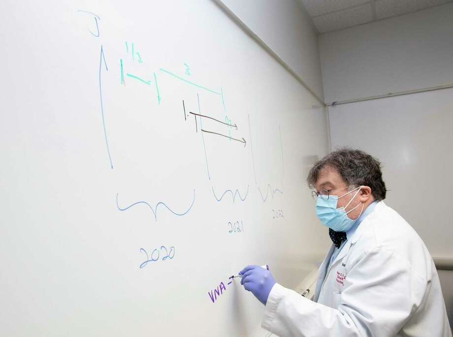 Peter Hotez, co-director of Texas Children's Hospitals Center for Vaccine Development, draws a timeline graphic to explain the COVID-19 vaccine development process Thursday, June 18, 2020, in Houston. Hotez predicted COVID-19 vaccine will be available for general public by quarter three of 2021, if they are safe and work. Photo: Yi-Chin Lee / Staff Photographer / © 2020 Houston Chronicle