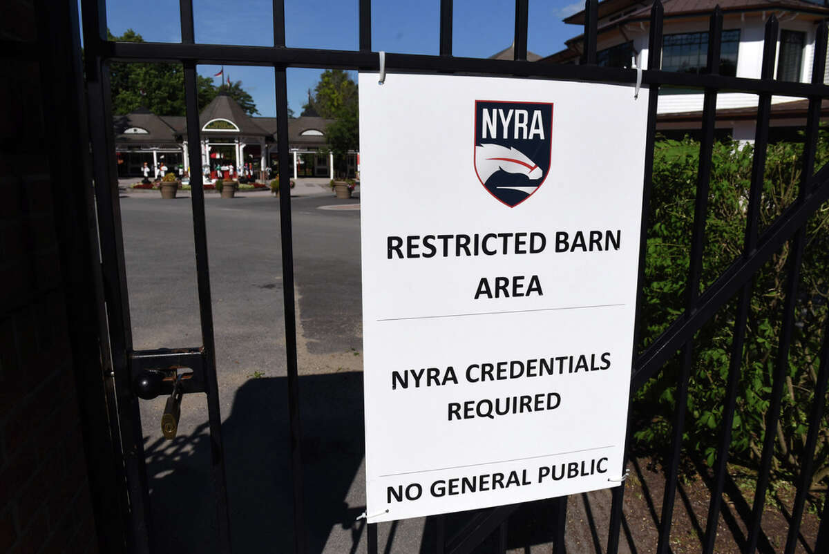 Access to Saratoga Race Course is closed to the general public on Tuesday, July 21, 2020, in Saratoga Springs, N.Y. (Will Waldron/Times Union)