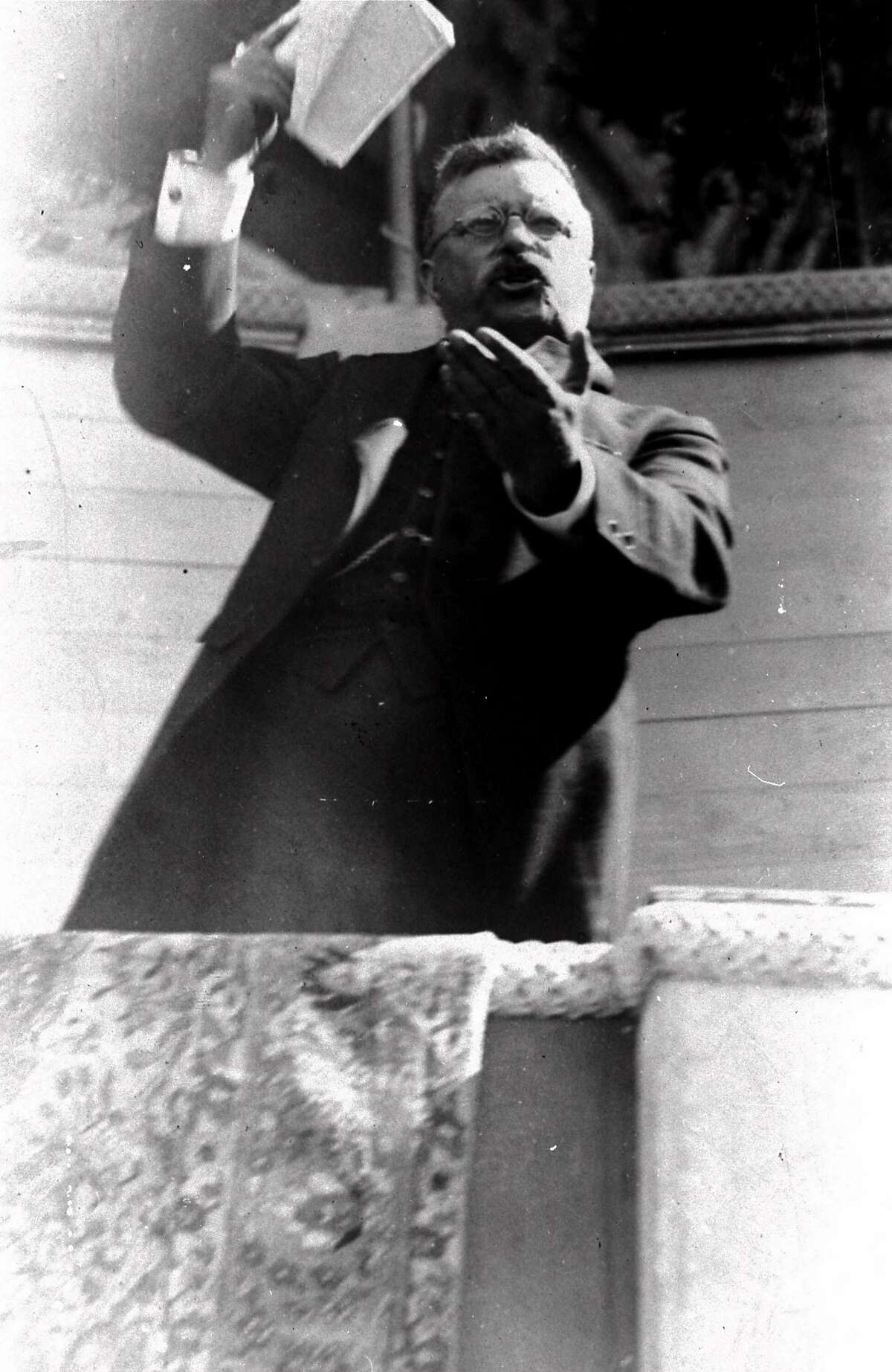 Theodore Roosevelt delivers a fiery address to a crowd of some 50,000 on July 21, 1915. A similar image of Roosevelt was captured on early documentary movie footage prserved in the U.S. Library of Congress' collection of about 300,000 films.