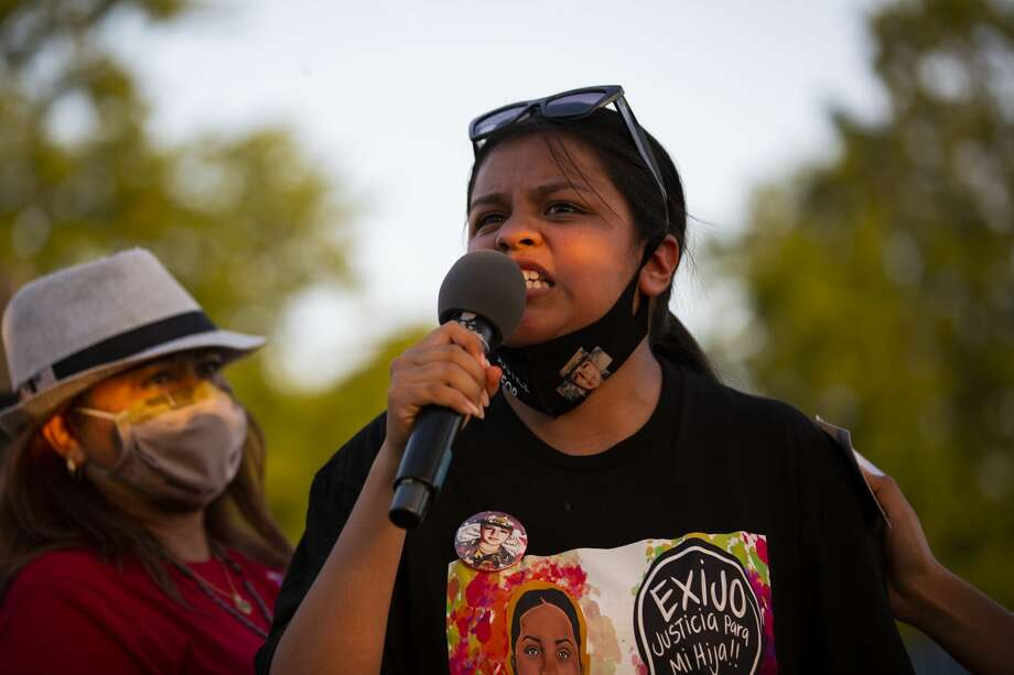 Lupe Guillén, 16, sister of Army Spc. Vanessa Guillén, talks to supporters during a religious service across from the Fort Hood on July 17, 2020. Photo: Marie D. De Jesús, Staff Photographer / ? 2020 Houston Chronicle
