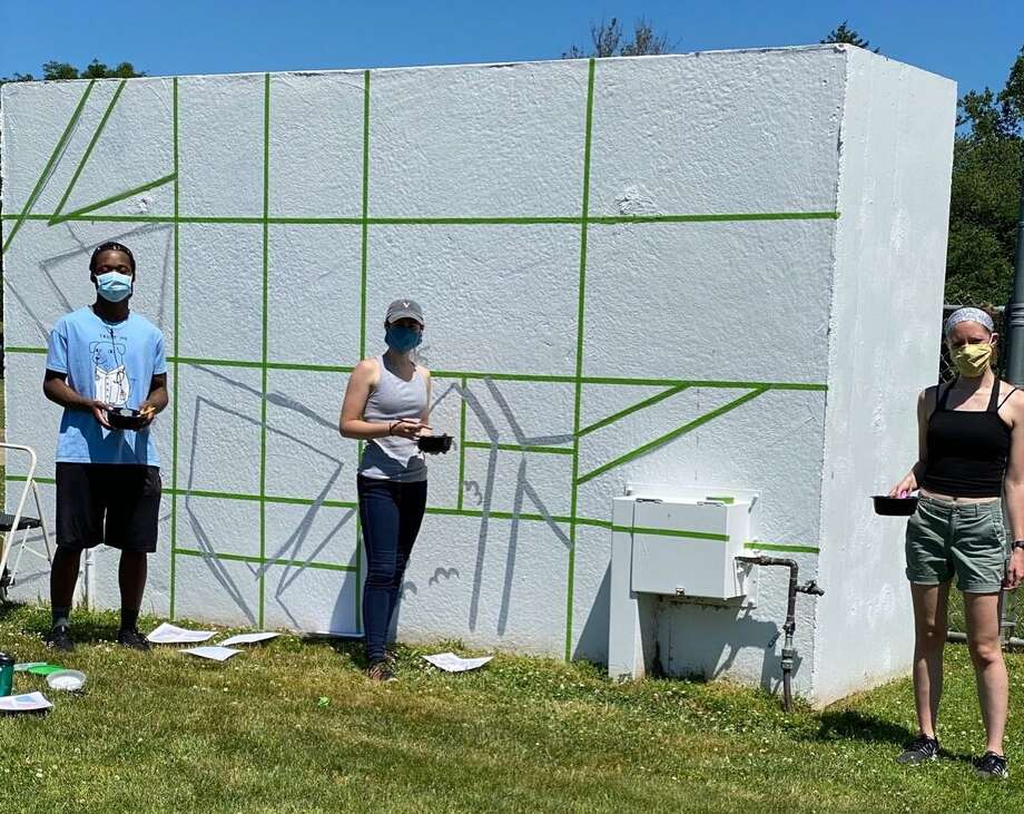 The Cromwell Creative District recently painted the dugouts in the town athletics fields. Photo: CCD / Contributed Photo