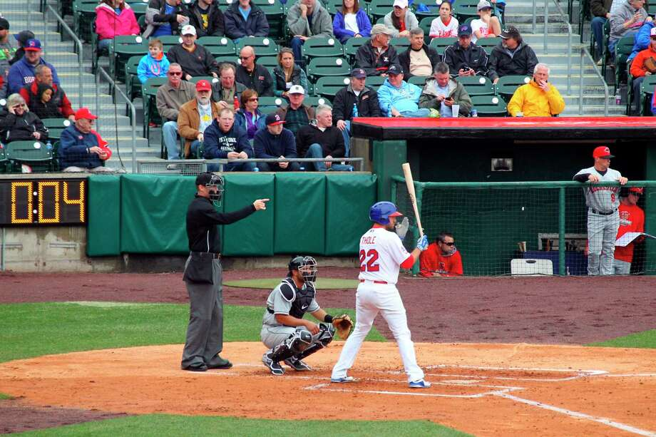 FILE - In this April 9, 2015, file photo, home plate umpire Seth Buckminster signals for the pitch as Buffalo Bisons batter Josh Thole (22) steps into the box during a Triple-A baseball game between the Bisons and Rochester Red Wings in Buffalo, N.Y. The displaced Toronto Blue Jays will play in Buffalo, New York, this year amid the pandemic. An official familiar with the matter told The Associated Press on Friday that the Blue Jays will play at Sahlen Field. The official spoke on condition of anonymity as they were not authorized to speak publicly ahead of an announcement. (AP Photo/Bill Wippert, File Photo: Bill Wippert / Associated Press / FR170745 AP