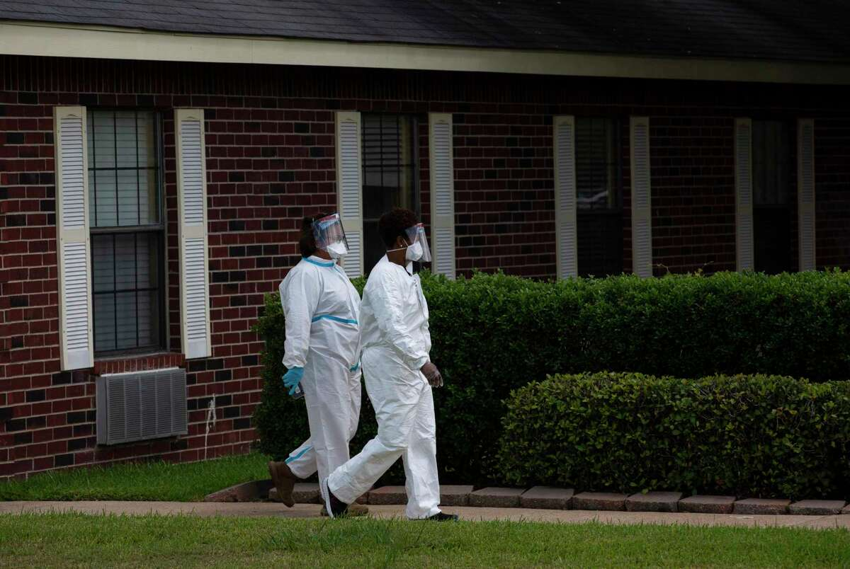 The Texas Rapid Assessment Quick Reaction Force conducts a site assessment at a Richmond nursing home on Thursday, July 23, 2020. An outbreak at another nursing home in the region, Sterling Oaks Rehabilitation in the Katy area, has left 77 sickened and a smany as 15 dead.