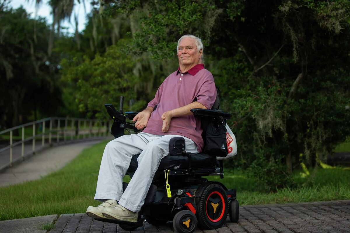 Lex Frieden poses for a portrait at a park near his home in Houston on Thursday, July 23, 2020. Frieden was instrumental with his help in writing the American's with Disabilities Act. A paraplegic, he has been a major disability rights activist in Houston and beyond since his early twenties when he first became paralyzed from a car accident and worked with a group to get the city to install lifts onto their their buses.