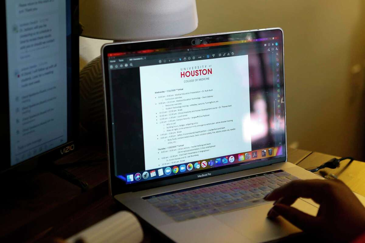 Breanna Chachere, a student in the inaugural class of University of Houston's new medical school, is having to start her school year from home where she is attending a virtual orientation Thursday, July 23, 2020, in Houston.