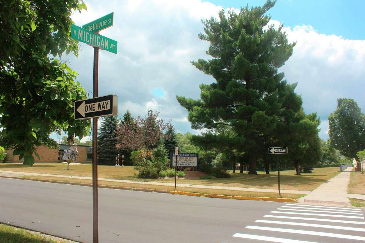 Along with the new stop signs, Bellevue Street in front of the Big Rapids Middle School has been freshly paved. (Pioneer photo/Taylor Fussman)