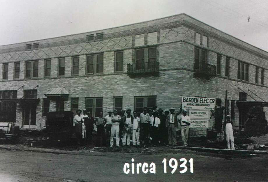 """The construction crew for the State Hotel in 1931. The structure was opened in 1932 to offer lodging to the many oilfield workers flooding the city. It was built by the town dentist, Dr. J.L. Hicks and architect Blum Hester who would go on to build the Crighton Theatre. Photo: Photo Courtesy Dr. Walter """"Wally"""" Wilkerson"""
