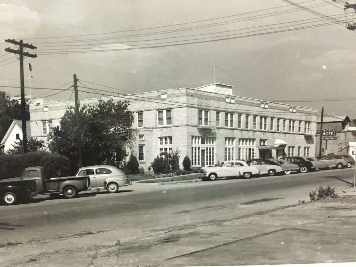 The State Hotel in the 1940s or 1950s in downtown Conroe. The facility operated as a hotel until the late 1980s and now serves as apartments on the second floor and businesses on the bottom floor.