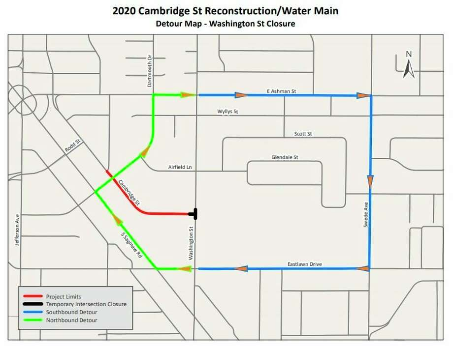 A city-provided map shows the detours drivers can take while construction takes place on Cambridge Street in Midland. (Map provided/City of Midland)