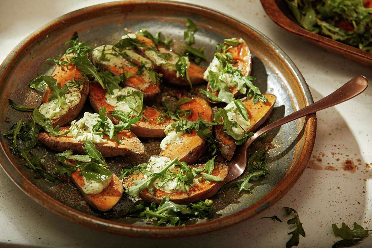 Roasted Sweet Potatoes With Collard Butter.