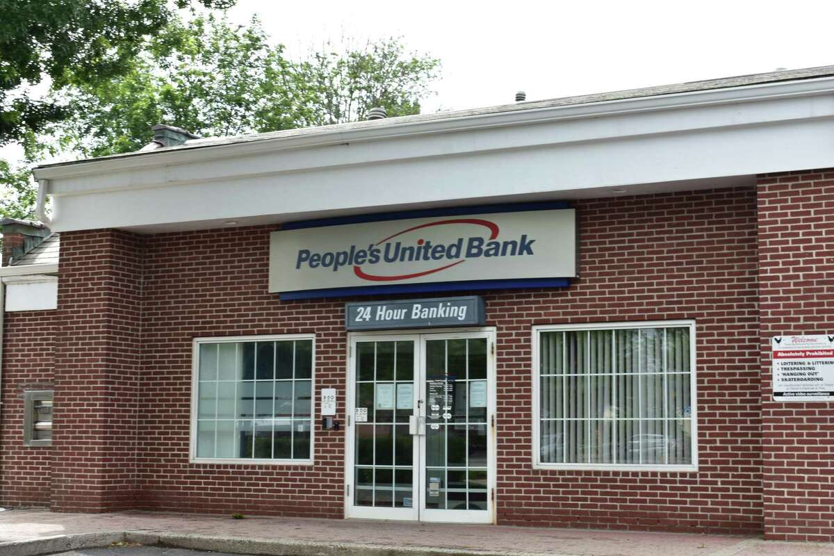 A People's United Bank branch in July 2020 in Newtown, Conn.