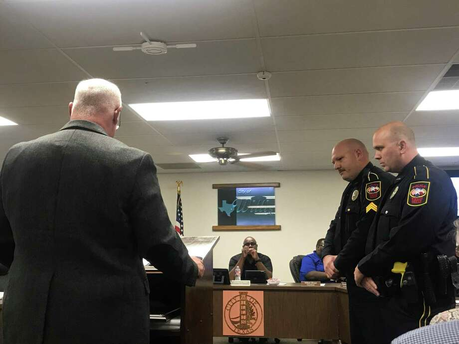 Willis Police Chief James Nowak presented theNational Police Hall of Fame Life Saving Medal toSgt. Jonathan Povsha, and Officer Patrick Murphy,and Sgt. Adam Culak at the Willis City Council meeting on January, 21, 2020. Photo: Meagan Ellsworth / Meagan Ellsworth