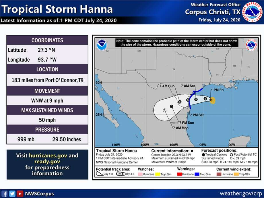 Maps provided by the National Weather Service in Corpus Christi detail what weather Laredo can expect from Tropical Storm Hanna. Photo: National Weather Service