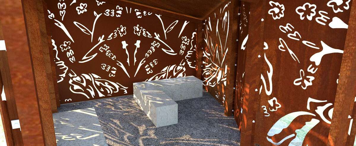 An animal blind featuring imagery by artist Ashley Mireles is part of the Robert L.B. Tobin Land Bridge designed to connect the two sides of Phil Hardberger Park.