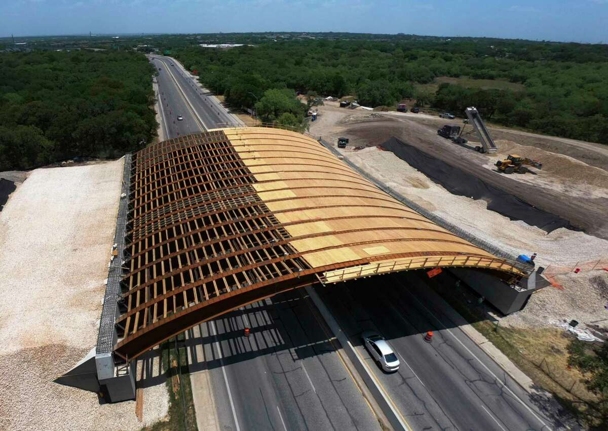 The Robert L.B. Tobin Land Bridge across Wurzbach Parkway, which, when complete will connect the two sides of Phil Hardberger Park, now has the some of the decking installed on Friday, July 17, 2020. It is slated to open in the Fall of this year.