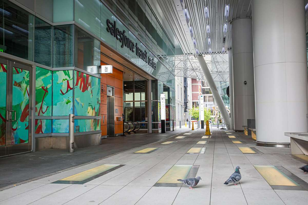 The Salesforce Transit Center in downtown San Francisco, CA remains closed on July 24, 2020, after the COVID-19 epidemic reaches a new surge in the area.
