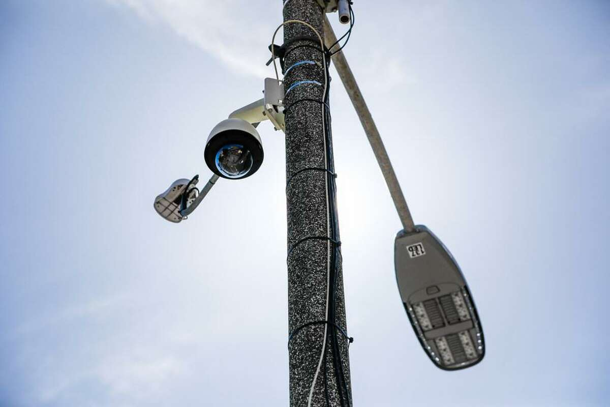 A security camera is seen on top of a pole on McAllister and Larkin Streets in San Francisco, California, on Monday, May 13, 2019.