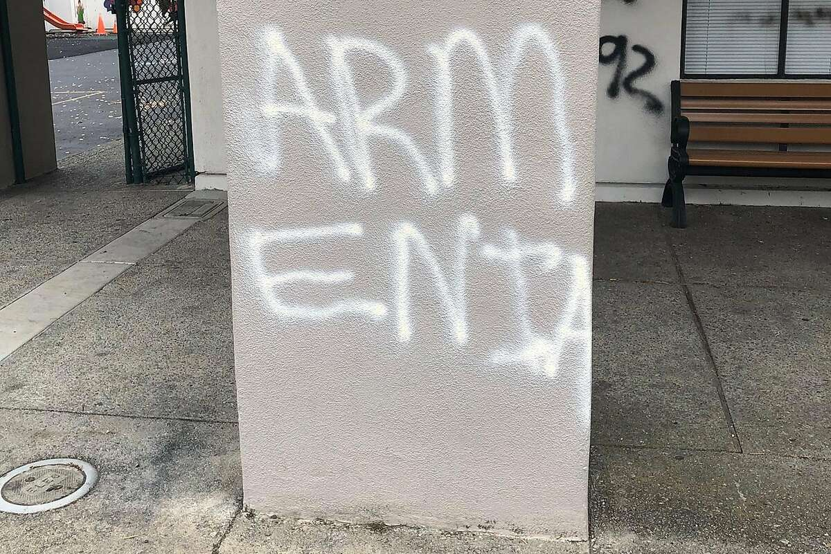 Vandals targeted the Krouzian-Zekarian-Vasbouragan Armenian School in San Francisco with threatening and racist graffiti�in an attack that claims to support a violent, anti-Armenian movement led by Azerbaijan, officials said Friday.