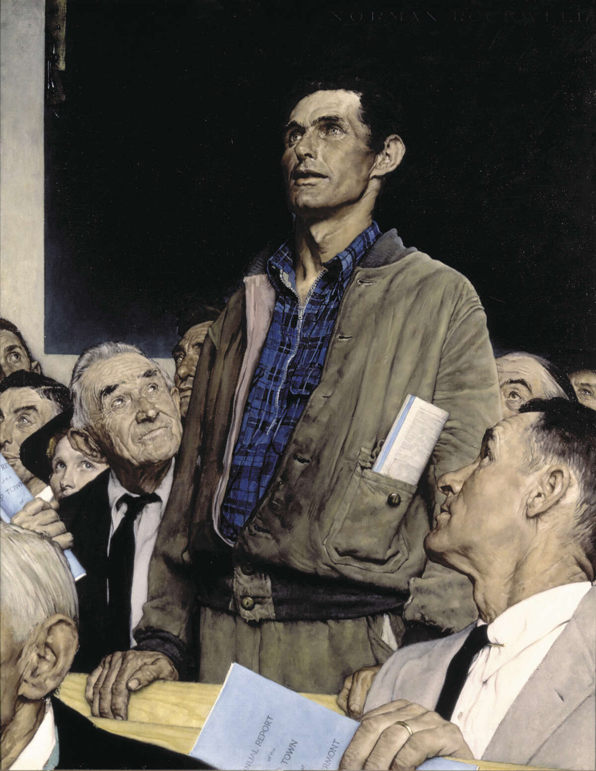 Freedom of Speech, Norman Rockwell Oil on canvas Saturday Evening Post, February 20, 1943 ?1943 SEPS: Licensed by Curtis Publishing, Indianapolis, IN Norman Rockwell Museum Collection