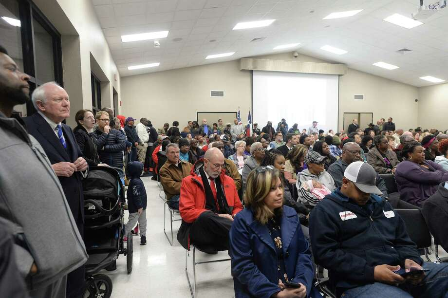 A large crowd fills the Beaumont ISD board room for its meeting Thursday night. While most were there for a kings and queens of student reading recognition, several remained to watch as the BISD board became fully local and out from under state control for 6 years after being taken over by the TEA in 2014. Photo taken Thursday, February 20, 2020 Kim Brent/The Enterprise Photo: Kim Brent / The Enterprise / BEN