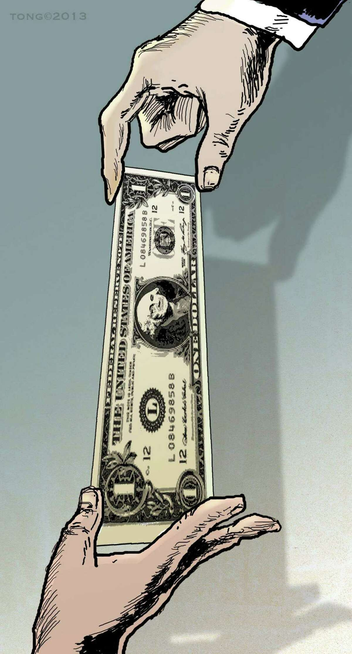 This artwork by Paul Tong relates to the current debate over the minimum wage.
