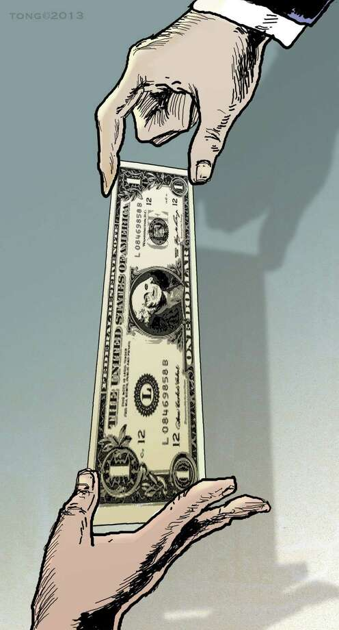 This artwork by Paul Tong relates to the current debate over the minimum wage. Photo: Paul Tong / Tribune Content Agency