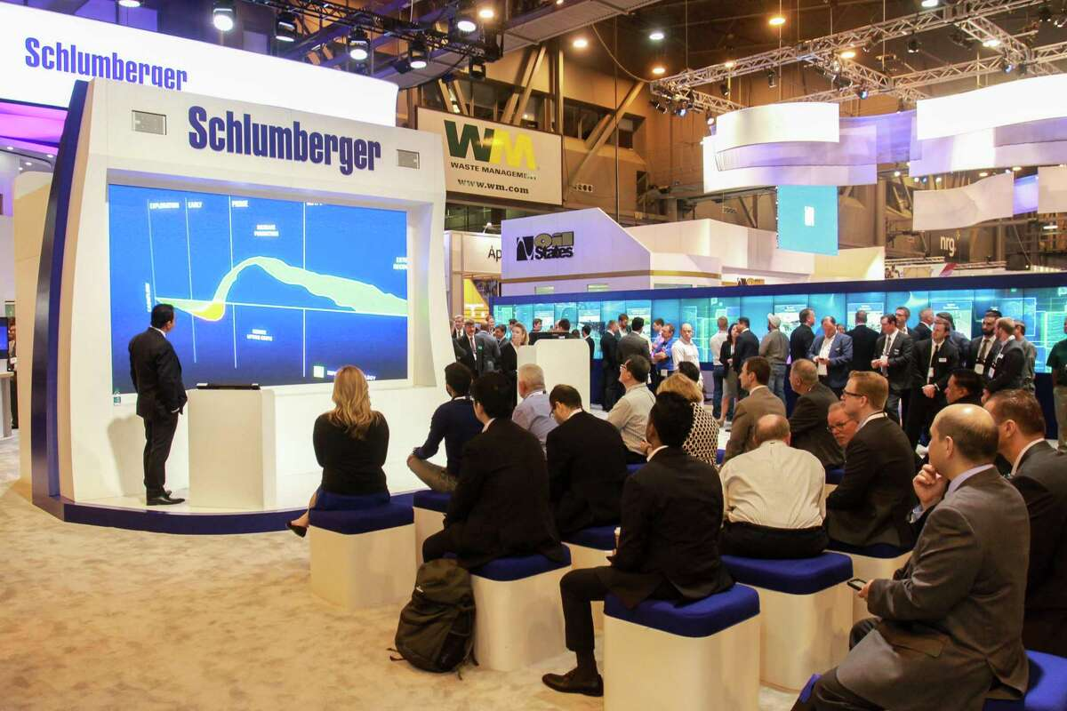 Schlumberger booth at OTC.. (For the Chronicle/Gary Fountain, May 1, 2018)
