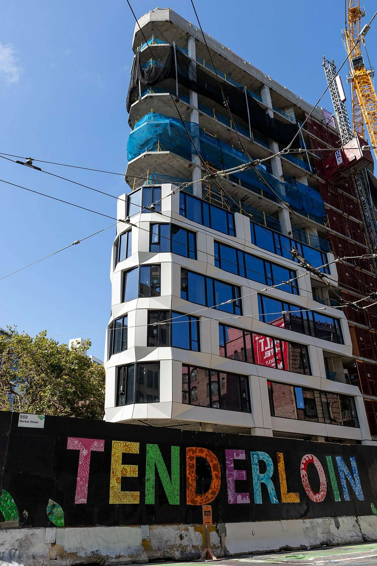 The exterior of a hotel-condo project at 950 Market St. is seen in San Francisco, Calif. on Friday, July 17, 2020.