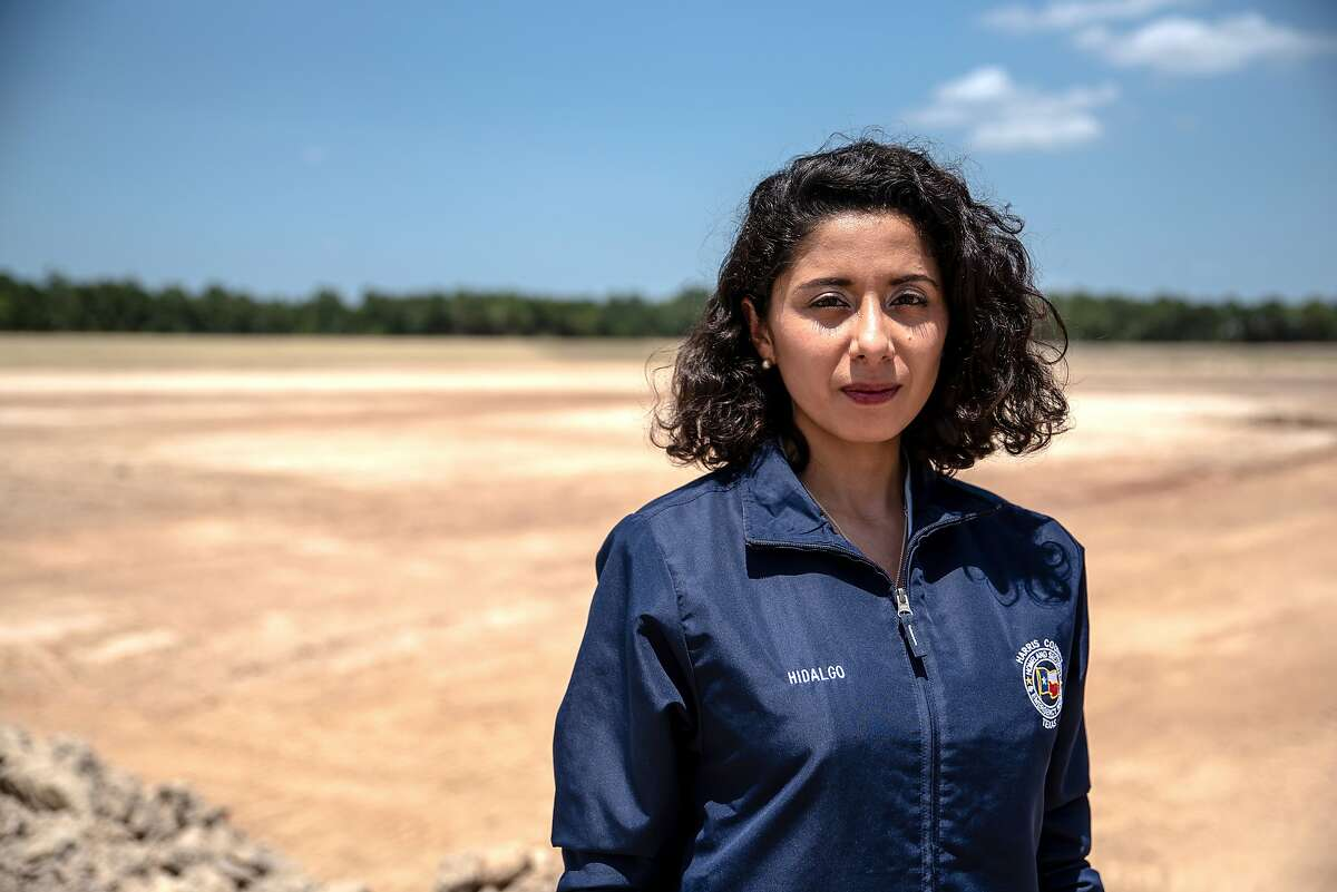 Lina Hidalgo at the contruction site of the Aldine Westfield Stormwater Detention Basin in Houston on Monday, July 13, 2020. In 2018, Hidalgo became the first Latina to hold the position of county judge, Harris County's top elected official. (Sergio Flores/The New York Times)