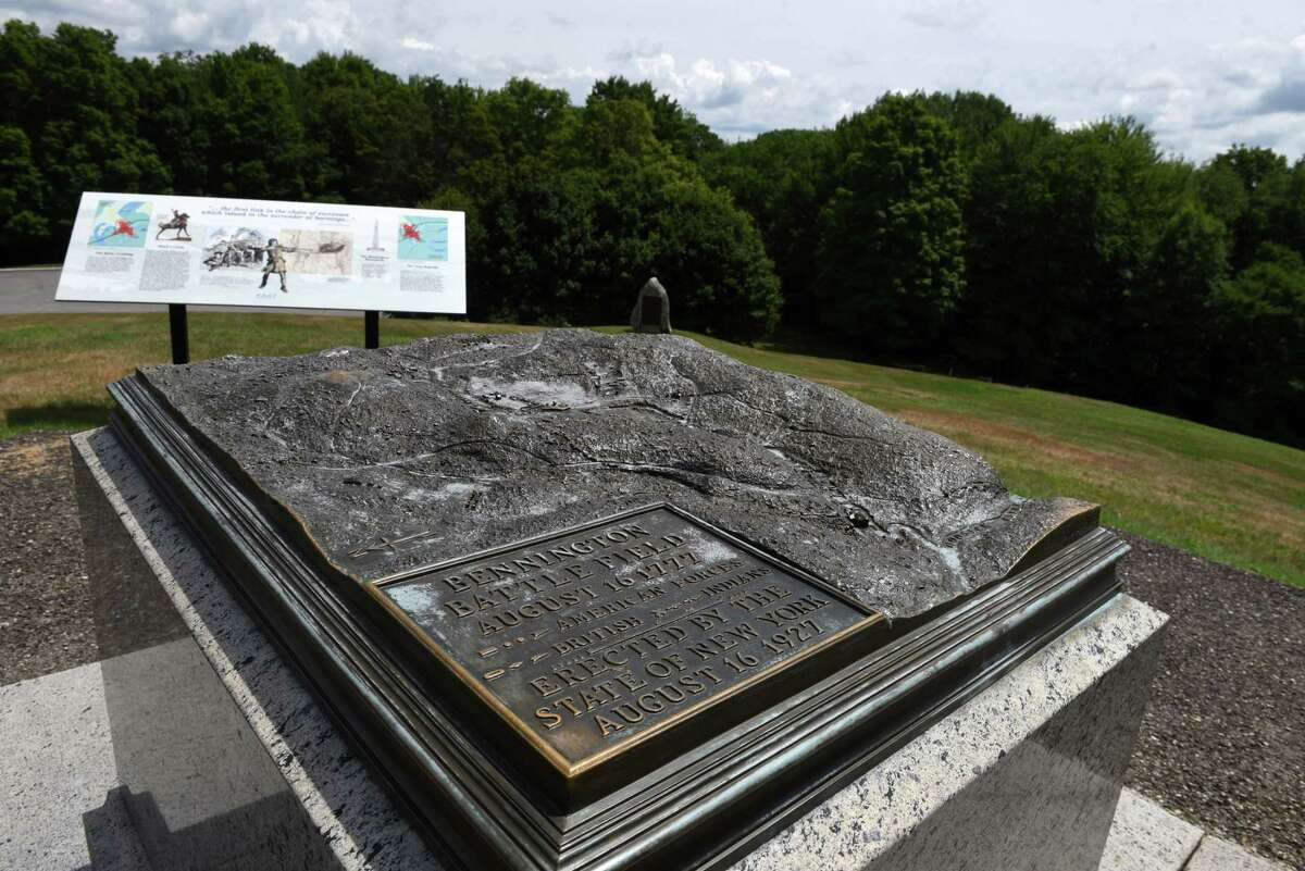 A topographic map at the Bennington Battlefield State Historic Site shows how the battle unfolded on Friday, July 24, 2020, in Hoosick, N.Y. The American Battlefield Trust has purchased 23 acres of battlefield land in the lead-up to the 250th celebration of the American Revolution. Battlefield Trust hopes to transfer the property to New York State Parks. (Will Waldron/Times Union)