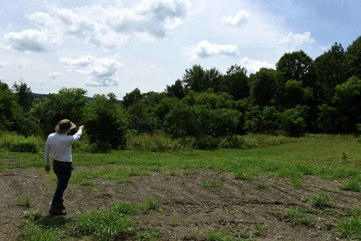 David Pitlyk, historic site assistant at Bennington Battlefield State Historic Site, shows some of the battlefield land that was recently preserved through the American Battlefield Trust on Friday, July 24, 2020, in Hoosick, N.Y. The field is part of the 23 acres of land that the American Battlefield Trust has purchased in the leadup to the 250th celebration of the American Revolution. Battlefield Trust hopes to transfer the property to New York State Parks. (Will Waldron/Times Union)