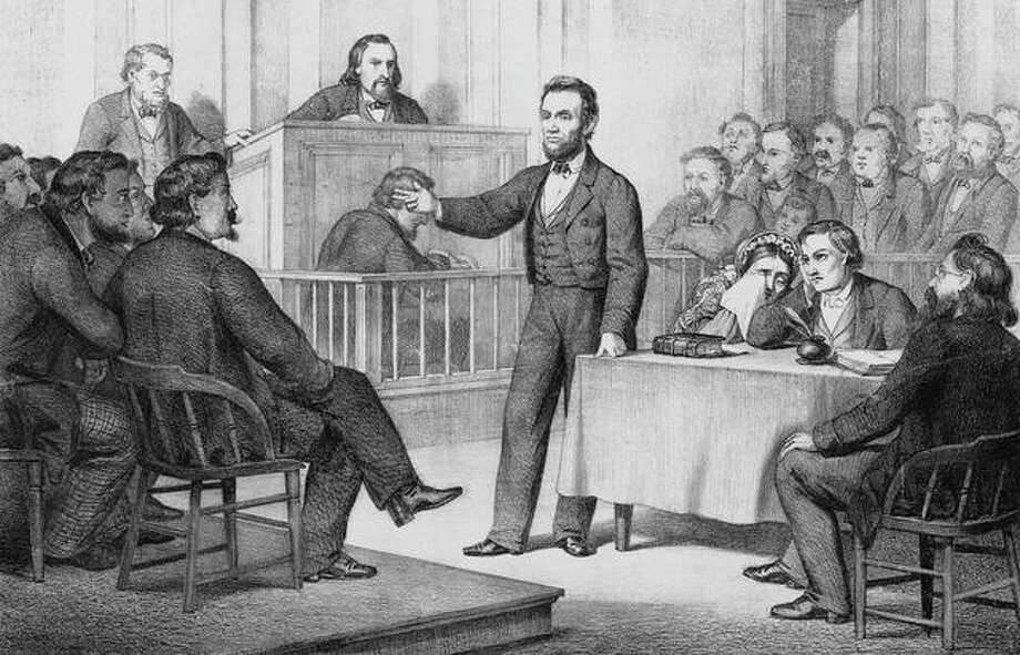 """An illustration features a court scene with William """"Duff"""" Armstrong and Abraham Lincoln. Armstrong was the defendant in an 1858 murder prosecution in which he was defended by Lincoln, two years before Lincoln was elected president. Armstrong was found not guilty due to a witness claiming to see the crime in the moonlight. Lincoln produced an almanac showing the moon on that date was not bright enough for the witness to see anything clearly."""