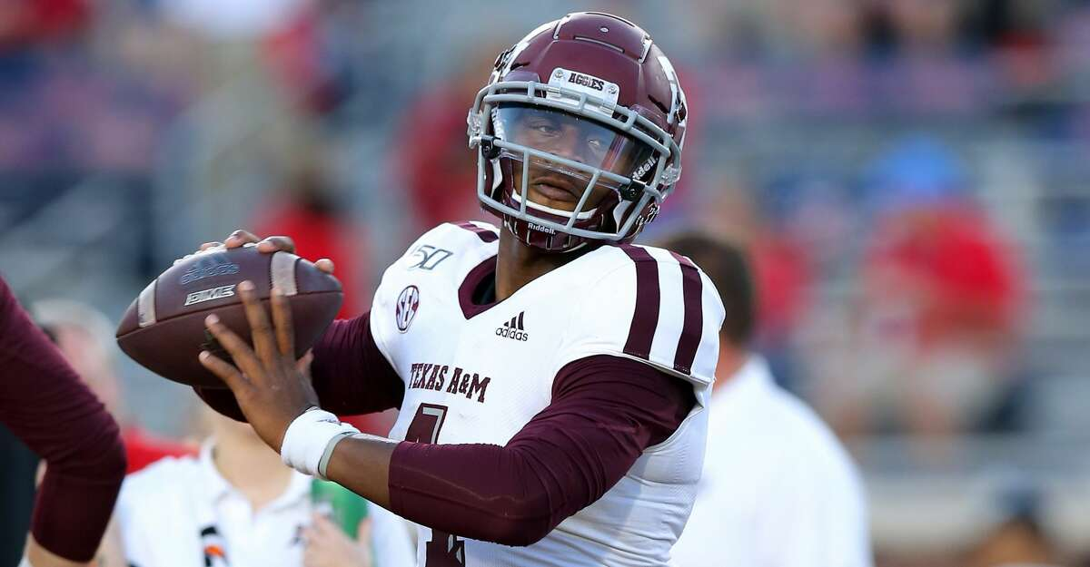 James Foster #4 of the Texas A&M Aggies warms up during a game against the Mississippi Rebels at Vaught-Hemingway Stadium on October 19, 2019 in Oxford, Mississippi. (Photo by Jonathan Bachman/Getty Images)