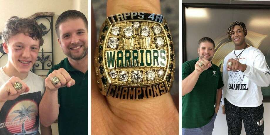 TWCA coach Tanner Field (green shirt) delivered state championship rings to members of his team this week. Photo: Submitted