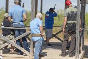 Participants take aim at clay pigeons 07/25/2020 at the Bust a Bird for the Y fundraiser at Jake's Clays. Tim Fischer/Reporter-Telegram