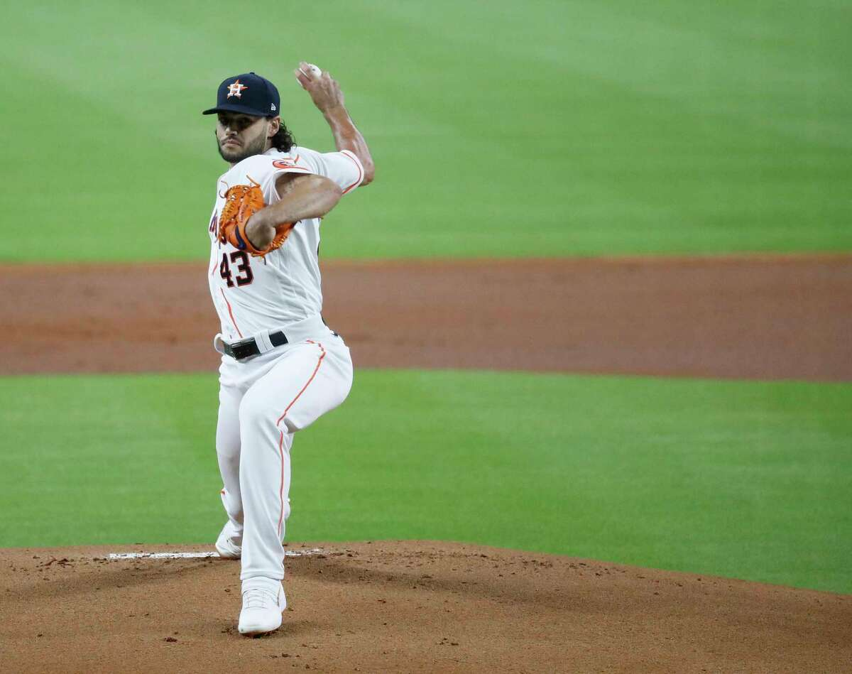 Houston Astros pitcher Lance McCullers Jr. pitches during the first inning of an MLB baseball game at Minute Maid Park, Saturday, July 25, 2020, in Houston.