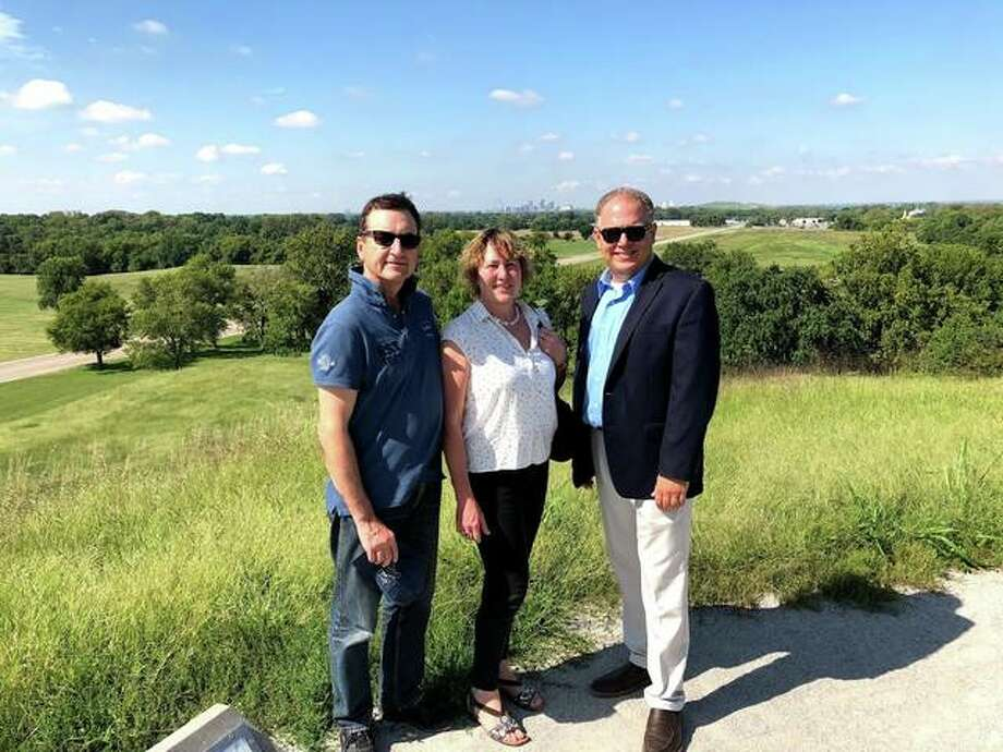 Stawar with German travel writers Brigitte and Franz Geiselhart at Monks Mound at Cahokia Mounds. Photo: Submitted Photos|For The Telegraph