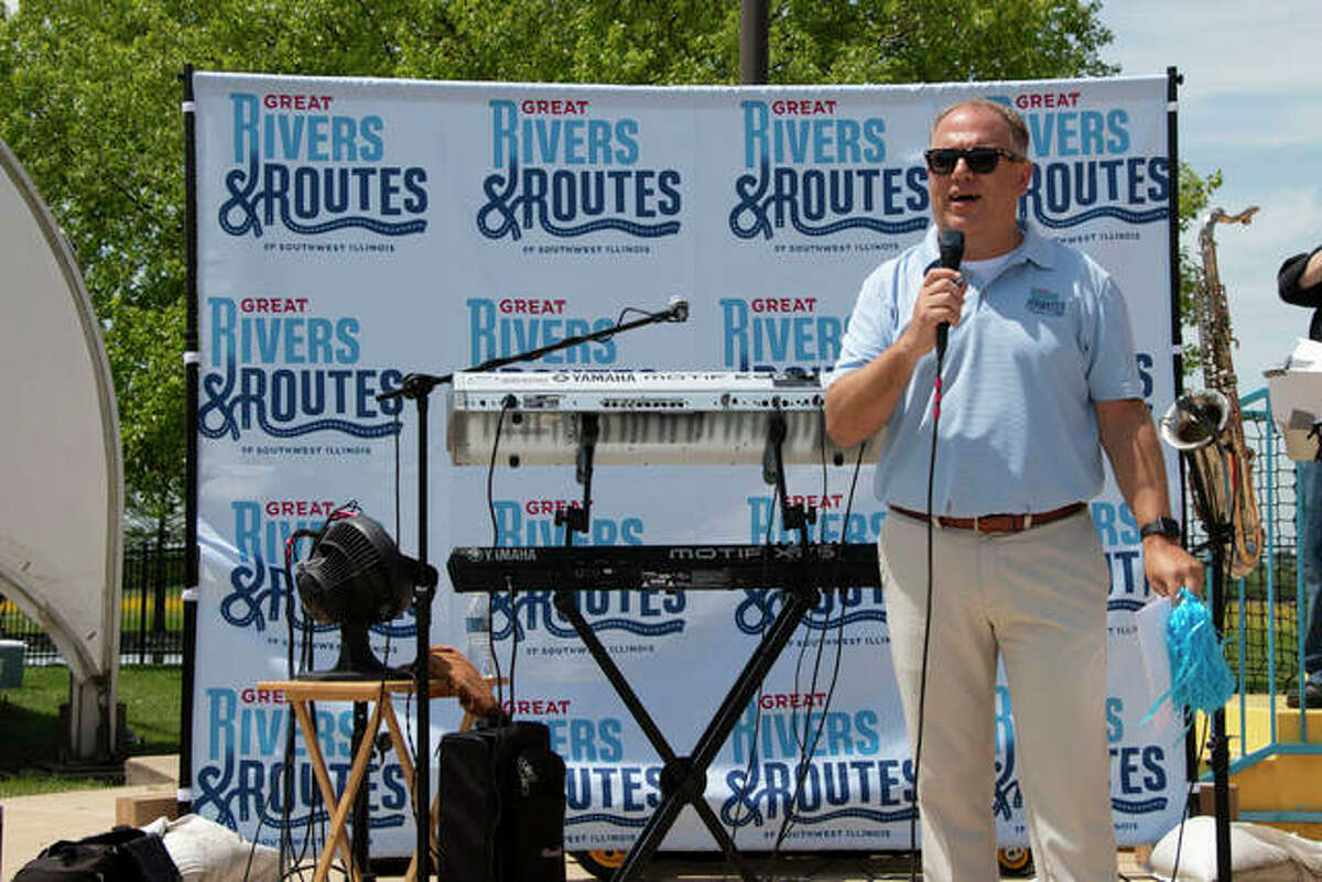 Brett Stawar at the Collinsville Aqua Park in 2019 at the Great Rivers and Routes Tourism Bureau's annual May Tourism Rally. They celebrated the bureau's expanded tourism region by holding the event in Collinsville. Stawar was instrumental in developing the annual May rallies in our region.