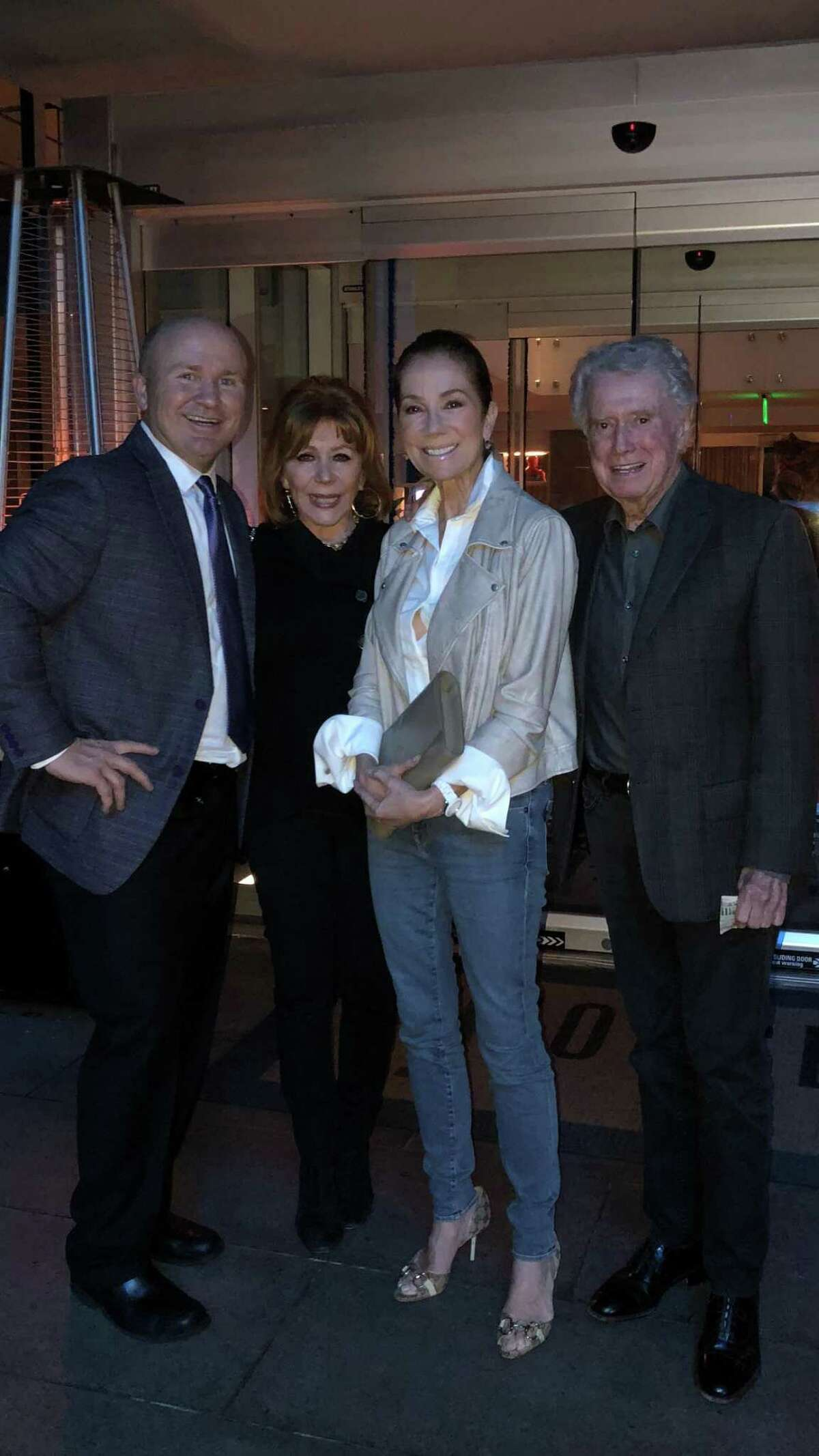 JHOUSE Food and Beverage Manager Tony Capasso with TV personalities' and Greenwich resident's Joy Philbin, Kathiee Lee Gifford and Regis Philbin at the JHOUSE in Riverside lin 2018.
