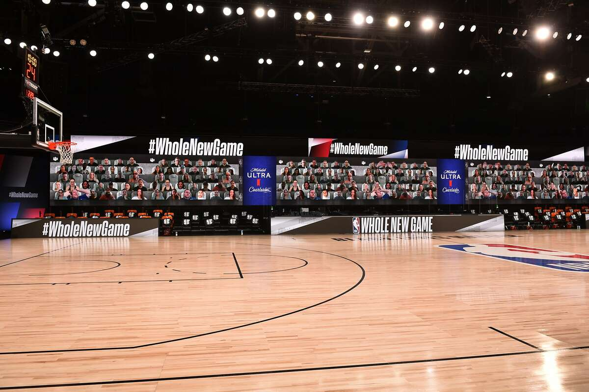 Virtual fans at NBA courts in Disney.
