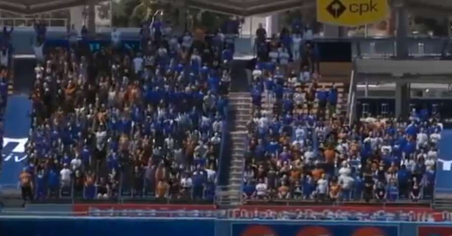 Fox Sports had computer-generated fans do the wave during the Giants-Dodgers game on Saturday, July 25, 2020. Photo: Twitter