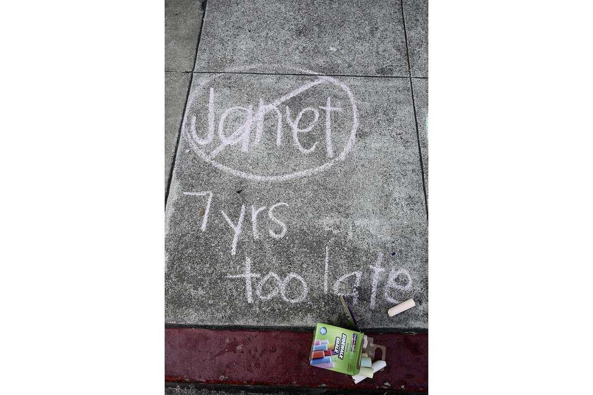 A message written in chalk states,