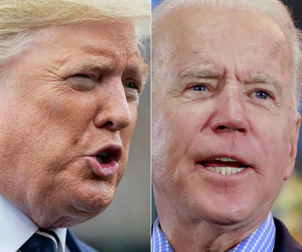 (COMBO) This combination of file photos shows US President Donald Trump(L) speaking to the media prior to departing from the White House in Washington, DC, on March 3, 2020, and Democratic presidential hopeful and former Vice President Joe Biden at a Nevada Caucus watch party on February 22, 2020, in Las Vegas, Nevada, during the Nevada caucuses. - Donald Trump has 100 days from Sunday to save his presidency as America tries to avoid a collective nervous breakdown ahead of one of the most divisive, tension-filled elections in US history. (Photos by SAUL LOEB and Ronda Churchill / AFP) (Photo by SAUL LOEB,RONDA CHURCHILL/AFP via Getty Images)