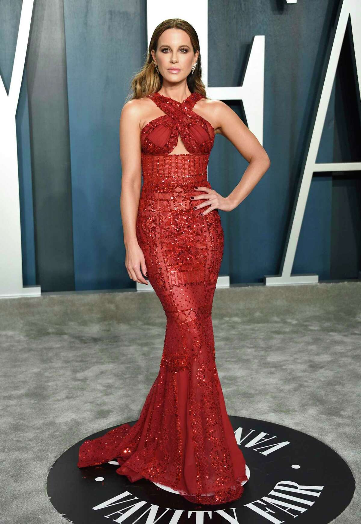 FILE - In this Feb. 9, 2020, file photo, Kate Beckinsale arrives at the Vanity Fair Oscar Party in Beverly Hills, Calif. Beckinsale turns 47 on July 26. (Photo by Evan Agostini/Invision/AP, File)