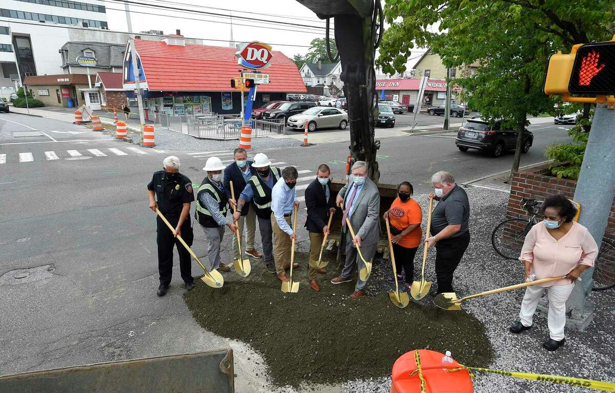 Stamford Mayor David Martin and Jim Travers. Bureau Chief for the City of Stamford Transportation, Traffic and Parking, along with several city officials break ground as they announce $1.4 million pedestrian safety project along Summer Street in downtown Stamford, Connecticut on July 23, 2020. The improvements at the Summer Street intersections at Main Street, Broad Street, North Street and Hoyt Street, sites of several accidents involving pedestrians including a fatal, will take until the end of the year to complete. A bump out the curb line to give more room to pedestrians on those 12 corners, while installing high visibility thermo plastic crosswalk treatment and lighted signs will also be put in place to let drivers know when to yield to pedestrians.