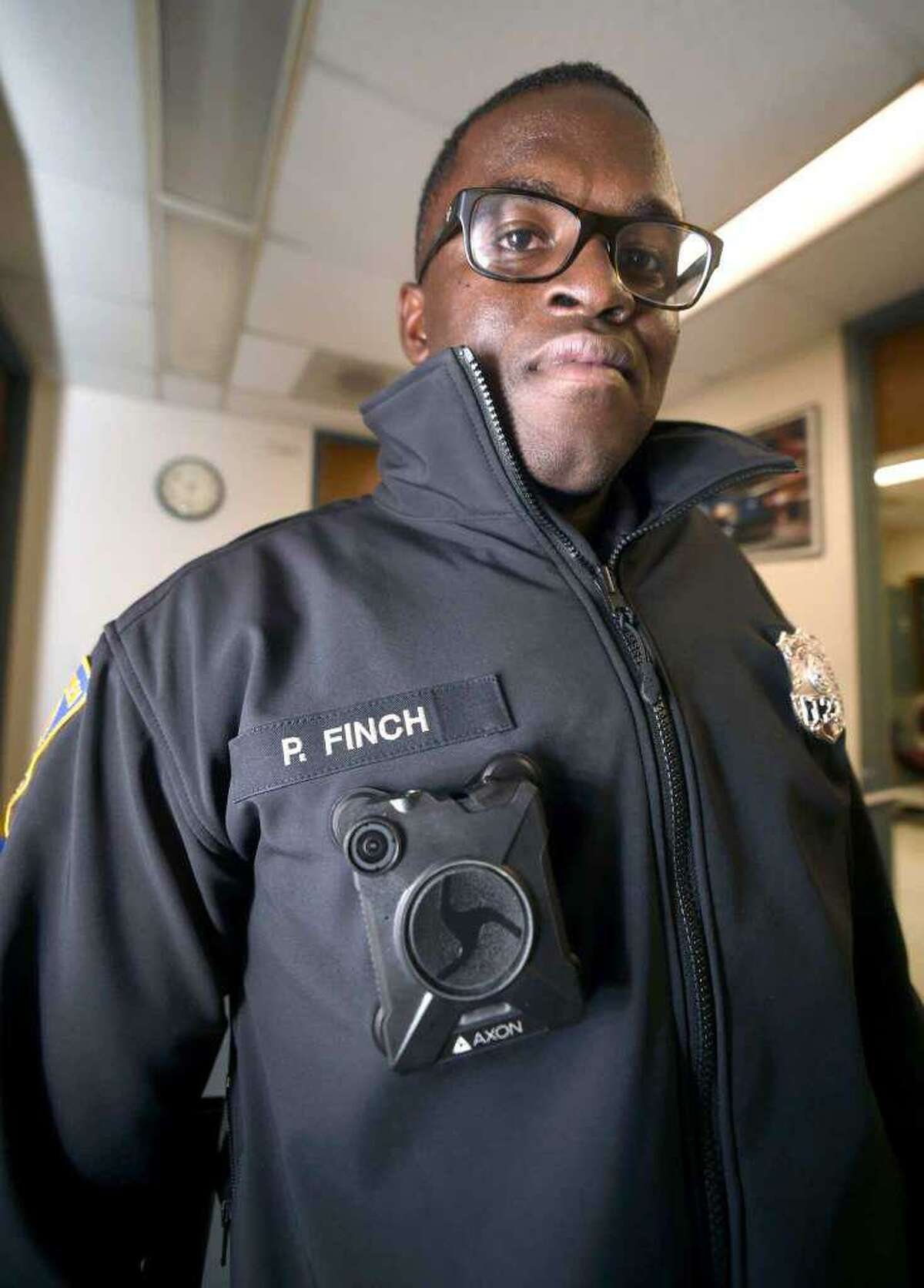 New Haven police Officer Paul Finch was one of the first officers to be given a body camera to test new features in the fall of 2017.