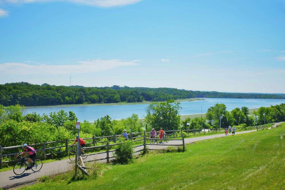 Bicyclists their way along a bike path near the Mohawk River on Sunday, July 26, 2020, in Niskayuna, N.Y. (Paul Buckowski/Times Union)