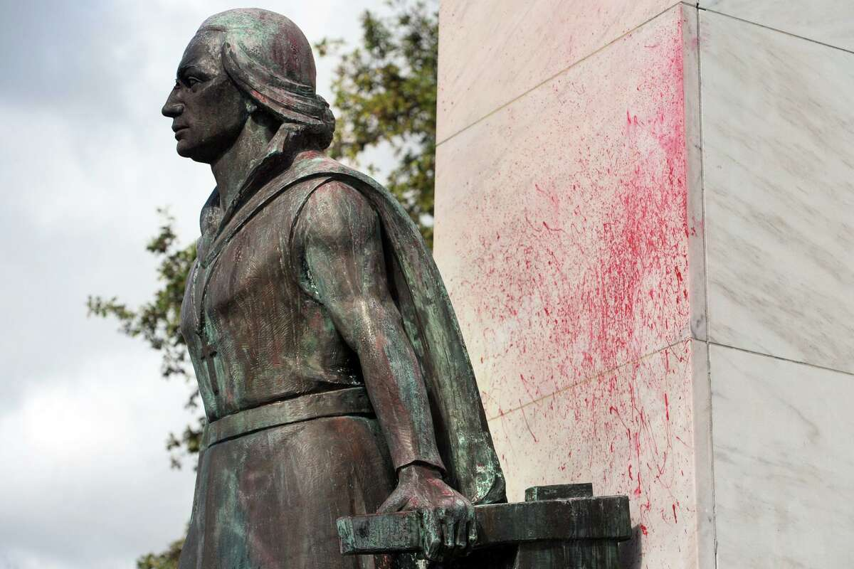 Splatters of red paint can be seen on the Christopher Columbus monument in Seaside Park in early October 2017 when it was vandalized.