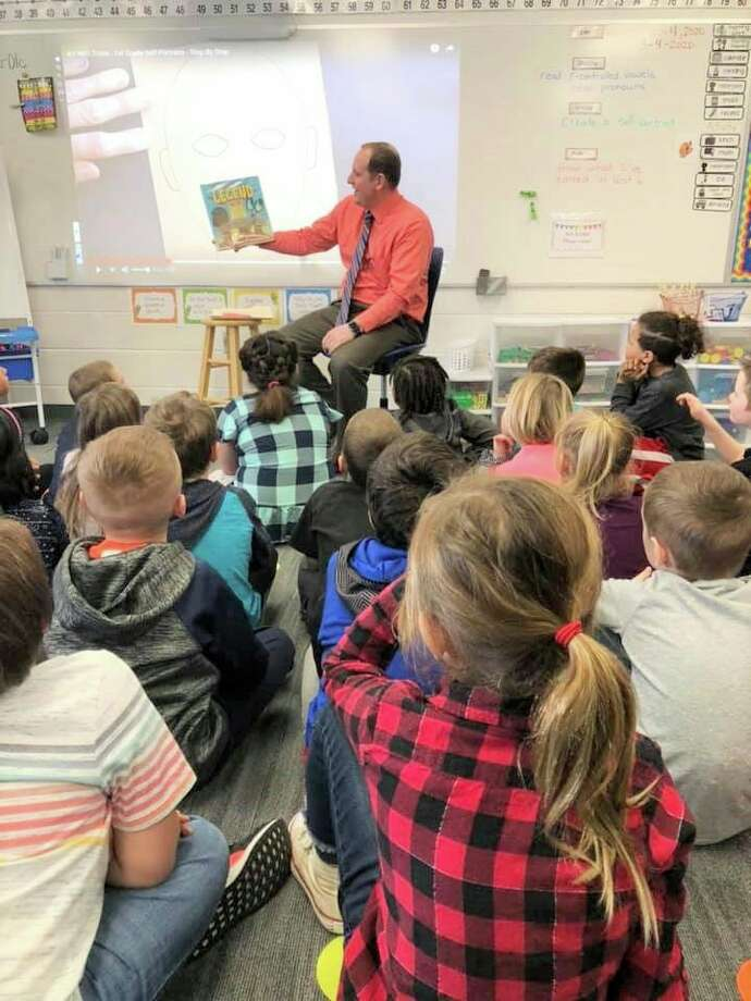 JoshBull reads to fourth-graders at Riverview Elementary School during March is Reading Month. He was a guest speaker during the month-long reading event, which celebrates Dr. Suess' birthday. (Courtesy photo)